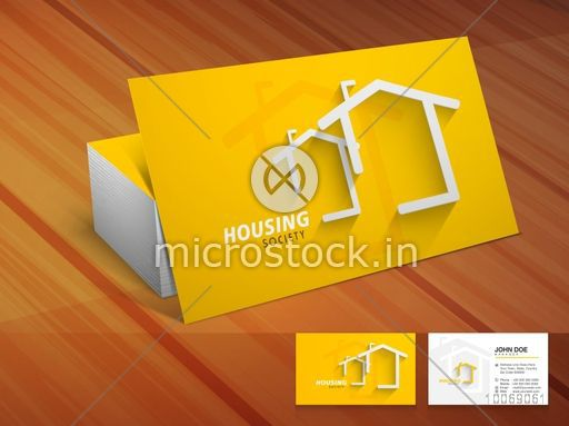 Creative Shiny Business Or Visiting Card Design In Yellow Color On Wooden Background For Housing Society