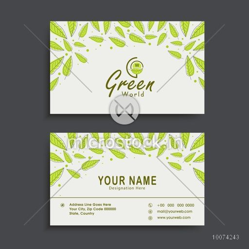 Creative Nature Concept Horizontal Business Card Visiting Or Name Set With Fresh
