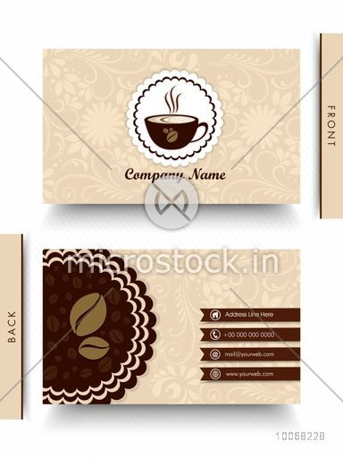 Beautiful floral design decorated business card for cafe or restaurants.