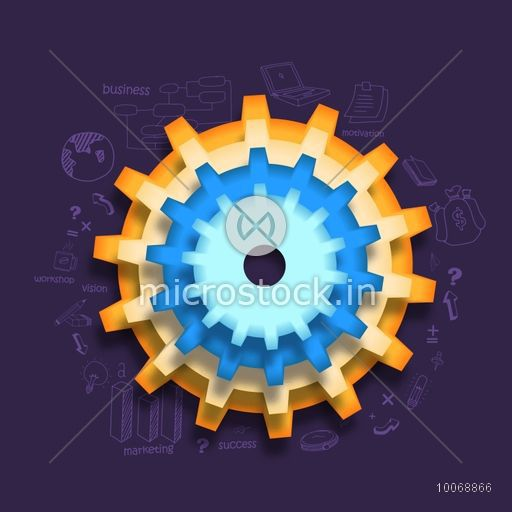 Creative glossy cogwheel on statistical infographic elements decorated purple background for your business reports and presentation.