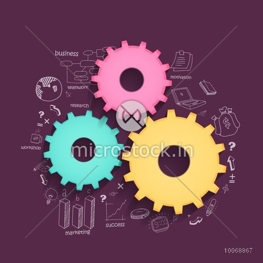 Glossy colorful cogwheels with various statistical elements on purple background for business reports and professional presentation.