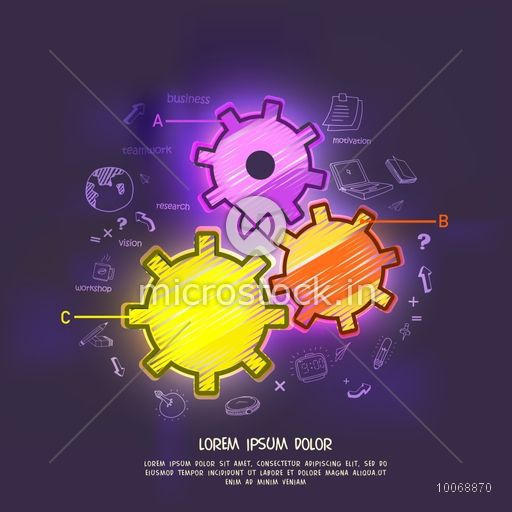 Colorful creative cogwheels with different infographic elements on shiny purple background for business reports and presentation.