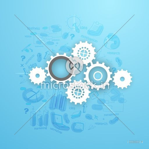 Shiny cogwheels with various statistical infographic elements on sky blue background for business presentation.