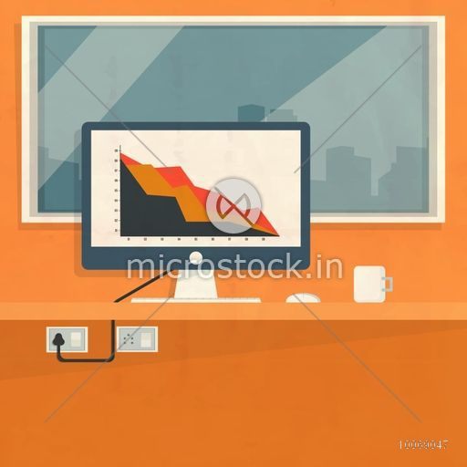 Colorful statistical bar on desktop for financial business presentation and publication.