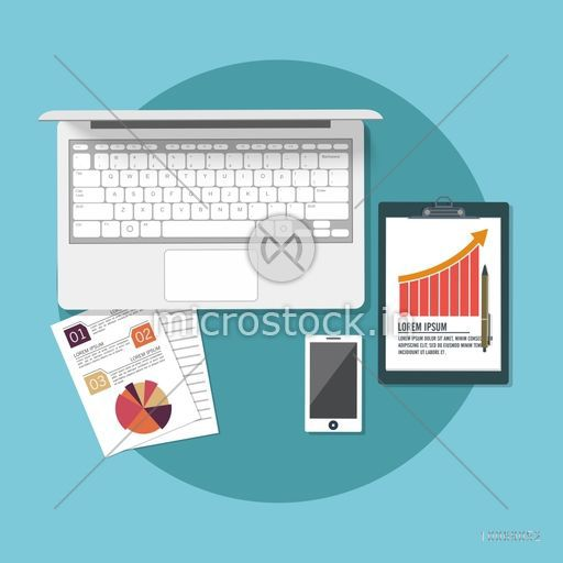 Creative modern digital devices on sky blue background for business.