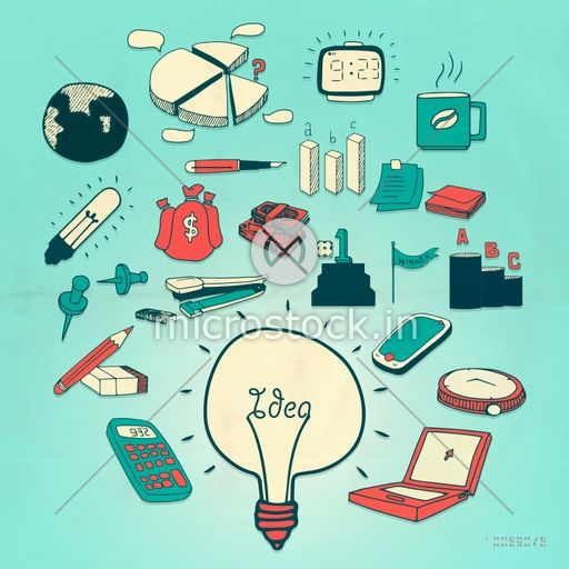 Creative colorful business infographic elements with bulb for idea concept on sky blue background.