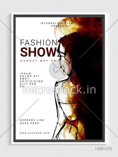 Fashion Show Template, Banner or Flyer design with creative illustration of a young modern girl.