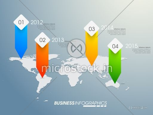 Colorful infographic pointers arrows on world map, Creative infographic template layout, Vector illustration for Business concept.