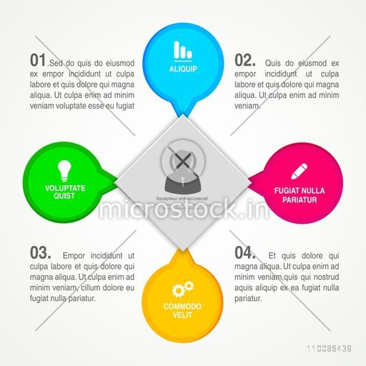 Infographic template layout with colorful elements in speech bubble shape for Business.