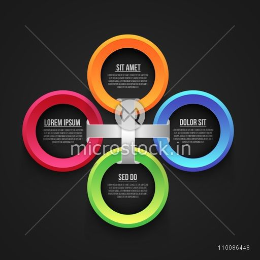 Infographic circles on grey background for Business reports and presentation.