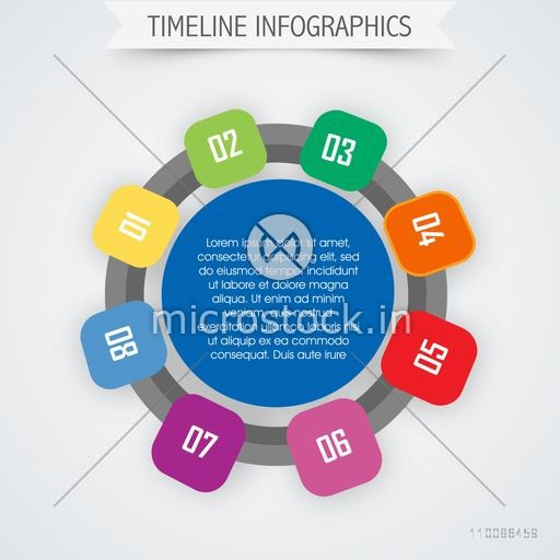 Timeline infographic template layout with circle infographics for Business reports and presentation.