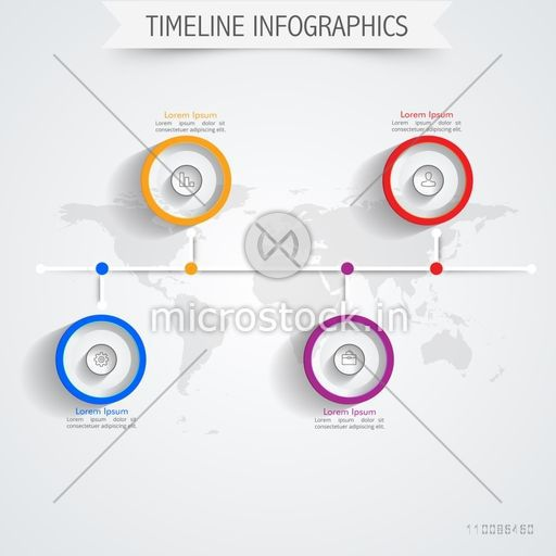 Creative timeline infographic template layout with web symbols on world map background, Vector illustration for Business concept.
