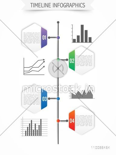 Timeline infographic elements with statistical graphs and charts for Business presentation.