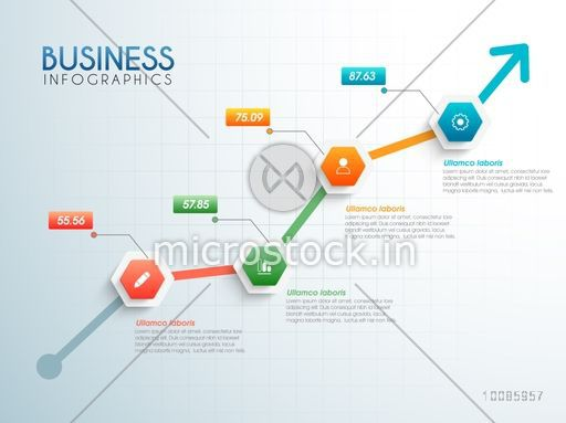 Growth Arrow Infographics With Statistics And Web Symbols For