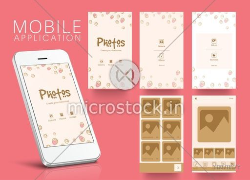 Creative Web User Interface layout with different Photo Gallery Screens presentation for Smartphone.