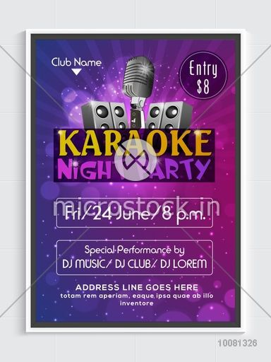 Karaoke Night Party Flyer Template Or Banner Design With