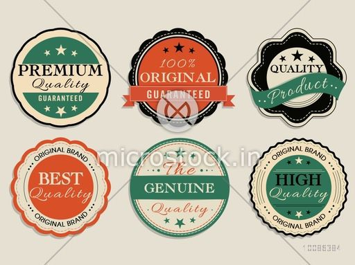 Vintage Labels set, Collection of six creative Tags, Retro Stickers or Badges design with Ribbon, Vector illustration.