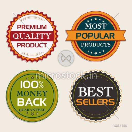Premium Quality Products stickers, tags or labels set, Vector illustration.