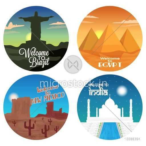 Set of Travel stickers, Welcome to Brazil, Egypt, New Mexico and India label or badge design, Vector illustration.