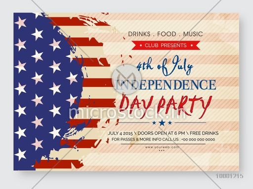 Vintage Invitation Card Design In American Flag Color For 4th Of July Independence Day Party Celebration