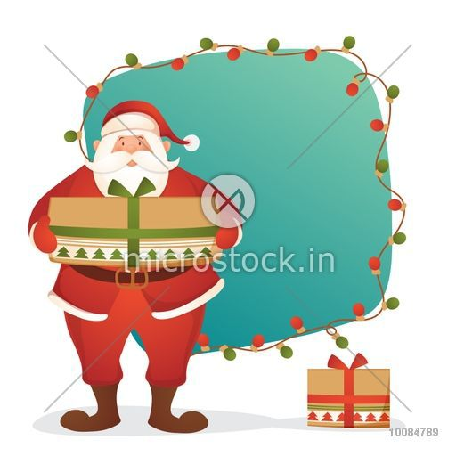 Santa Claus holding big gift box for Merry Christmas celebration, Lights decorated festive background with space for your wishes, Elegant Greeting Card or Invitation Card design.