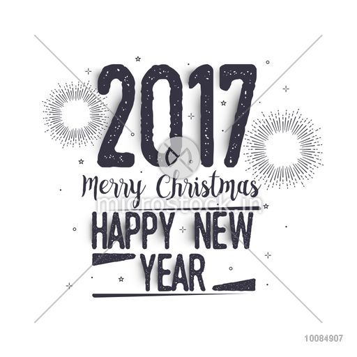 2017 Merry Christmas and Happy New Year hand drawn lettering design ...