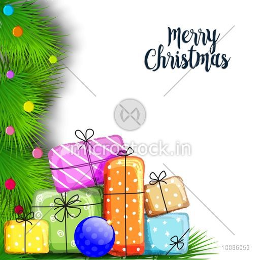 Merry Christmas Celebration With Colorful Gift Boxes On Fir Branches Decorated White Background