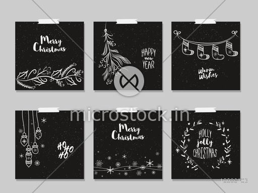 merry christmas and happy new year cards set in chalkboard style
