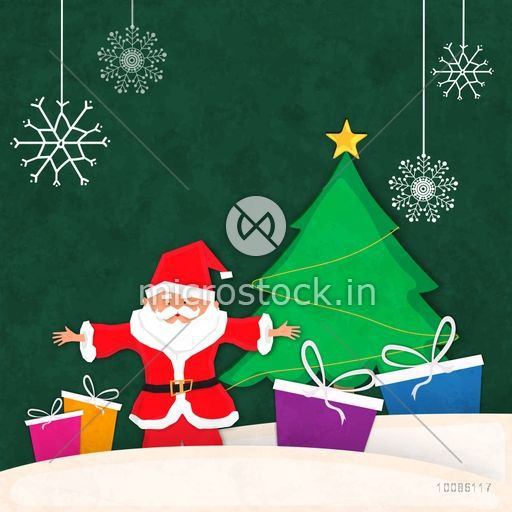Christmas Celebration Cartoon Images.Merry Christmas Celebration Background With Cute Santa Claus Colorful Gift Boxes And Big Xmas Tree On Hanging Snowflakes Decorated Background