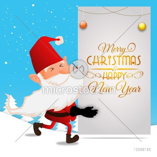 Illustration of Santa Claus wishing for Merry Christmas and Happy ...