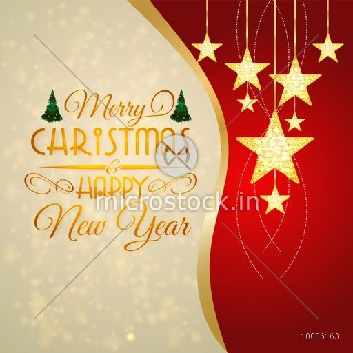 elegant greeting card design decorated with golden hanging stars for merry christmas and happy new year