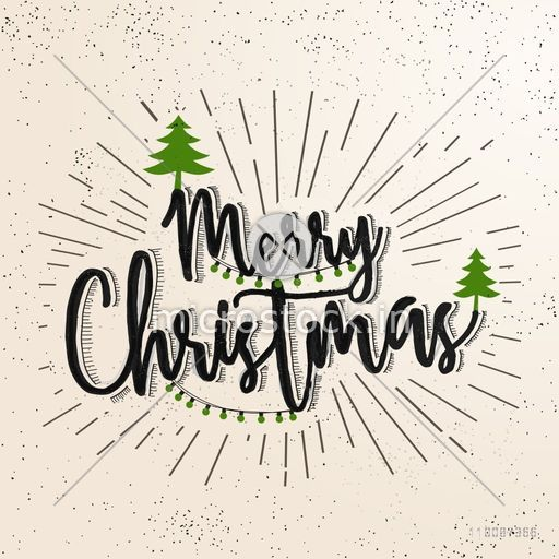 Christmas Lettering.Merry Christmas Lettering Design With Xmas Tress Decoration Abstract Vintage Background With Burst