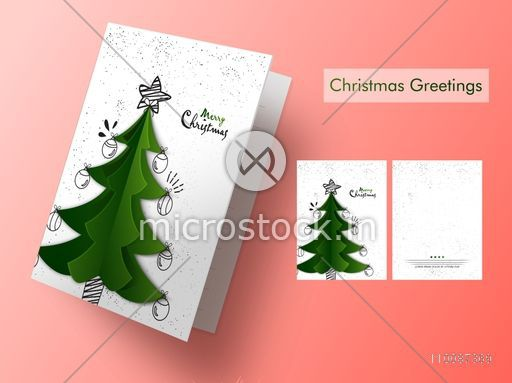 Christmas Tree Cards Designs.Creative Xmas Tree Decorated Greeting Card Design For Merry Christmas Celebration