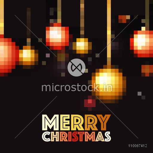 Pixel art design of hanging Xmas Balls for Merry Christmas celebration.