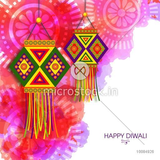 Creative Colorful Hanging Lamps Kandil On Abstract Floral Pattern Traditional Indian Festival Background