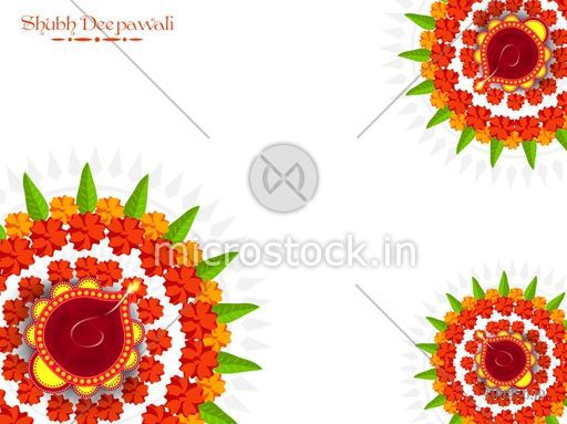 Beautiful floral Rangoli with Illuminated Lit Lamps, flowers decorated Diwali Festive Background, Elegant Greeting Card for Indian Festival of Lights Celebration.