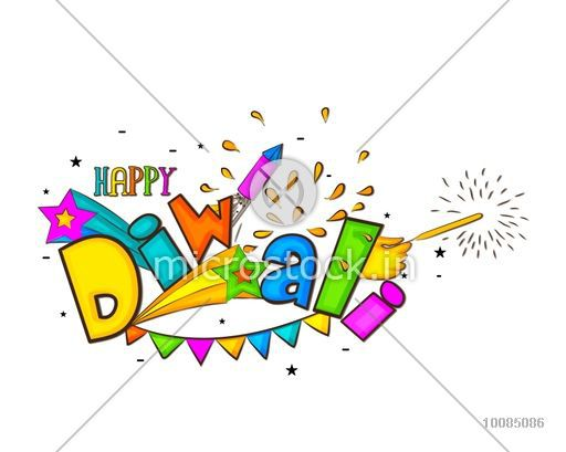 Colourful Text Diwali with Firecrackers, Vector Greeting Card, Creative Diwali Festive Typographical Background for Indian Festival of Lights Celebration.