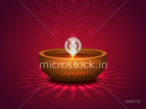 Realistic illuminated oil lit lamp on floral rangoli vector realistic illuminated oil lit lamp on floral rangoli vector traditional festive background beautiful greeting m4hsunfo