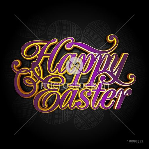 Creative glossy text Happy Easter on floral eggs decorated shiny background, Can be used as greeting card or invitation card design.