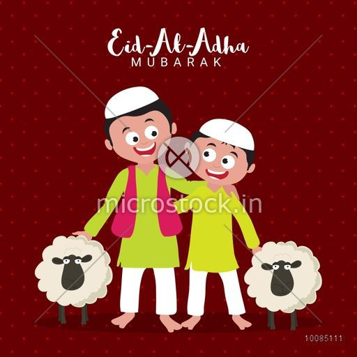 Cute happy Islamic Kids in Traditional Outfit with Sheep for Muslim Community, Festival of Sacrifice, Eid-Al-Adha Mubarak, Vector illustration.