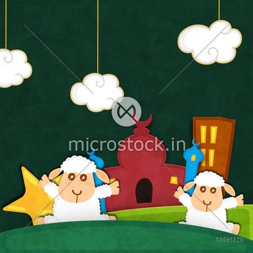 Cute Baby Sheep in front of Mosque on creative background, Vector illustration for Muslim Community, Festival of Sacrifice, Eid-Al-Adha Mubarak.