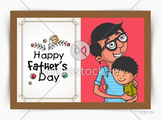 Beautiful greeting card design with illustration of a father hugging his son for Happy Father's Day celebration.