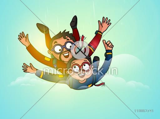 Happy Father and son enjoying skydiving in the sky on occasion of Father's Day celebration.