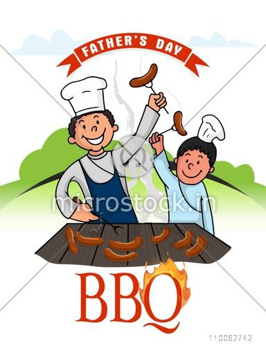 Stylish template, banner or flyer with illustration of father and son enjoying cooking together on nature background, concept for Happy Father's Day celebration.