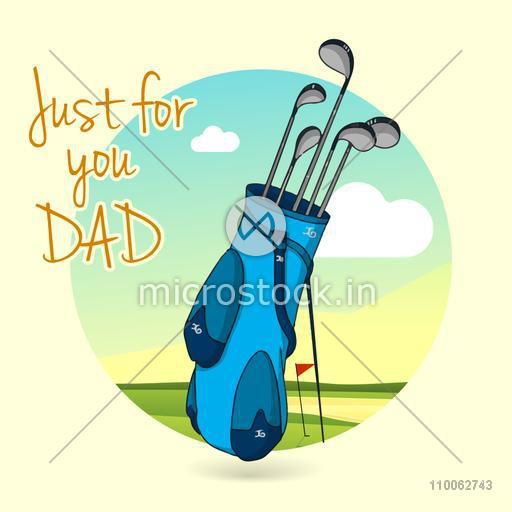 Celebrations for Happy Father's Day with golf clubs in blue bag for Dad on nature view background.