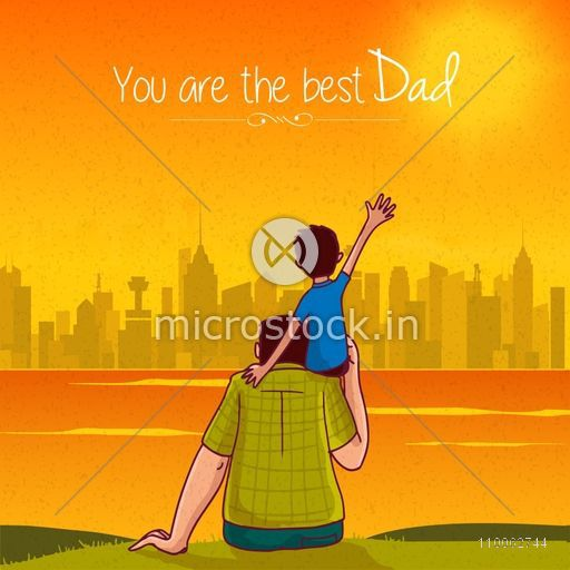 Cute little son sitting on his father's shoulder on city view background for Happy Father's Day celebration concept.