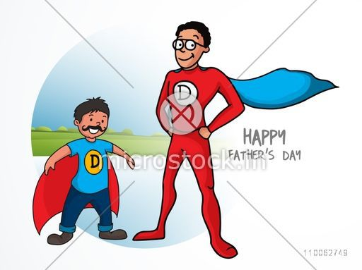 Father and son in super hero costume on nature background for Happy Father's Day celebration concept.