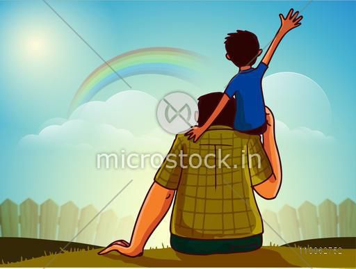Cute little boy sitting on his father's shoulder and watching rainbow behind clouds for Happy Father's Day celebration.