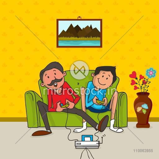 Father and son playing video game together, concept for Happy Father's Day celebration.