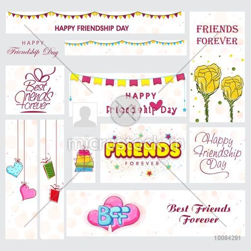 Creative Social Media Post and Header set with stylish typographic collection, gifts and flowers for Happy Friendship Day celebration.